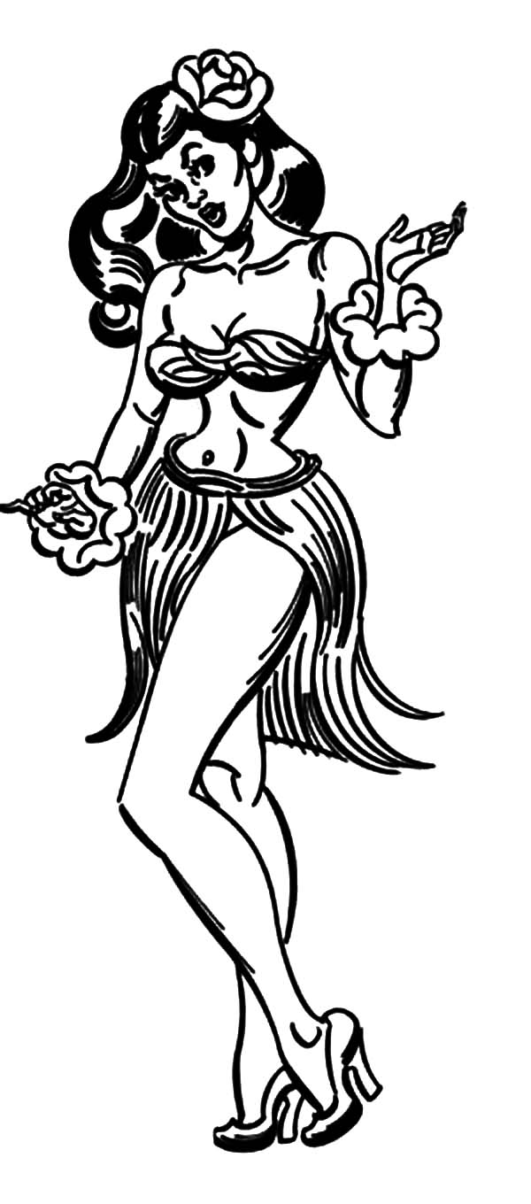 Hula Girl, : Picture of Hula Girl Coloring Pages