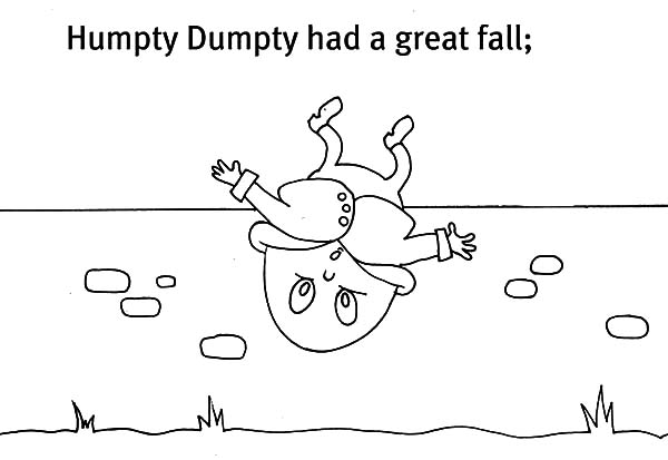 Humpty Dumpty, : Picture of Humpty Dumpty Had a Great Fall Coloring Pages