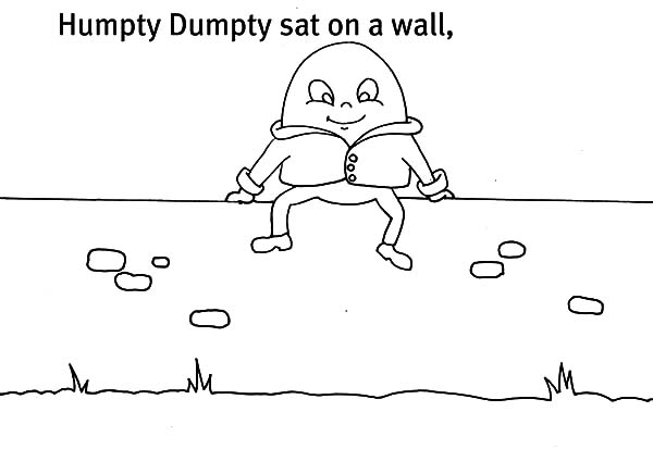Humpty Dumpty, : Picture of Humpty Dumpty Sat on a Wall Coloring Pages
