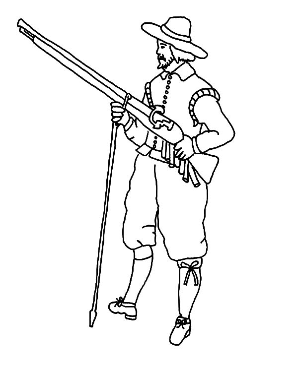 Hunting, : Pilgrim Hunter with Musket Hunting Animal Coloring Pages