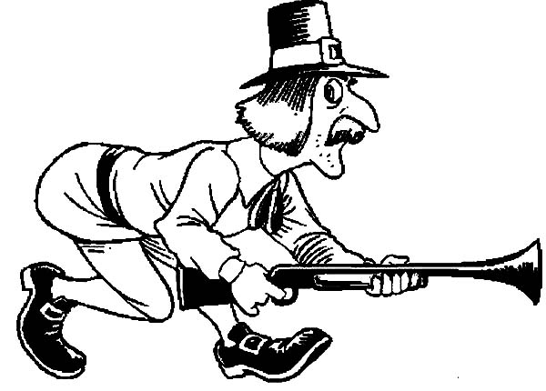 Hunting, : Pilgrim Hunting Walking Slowly Coloring Pages