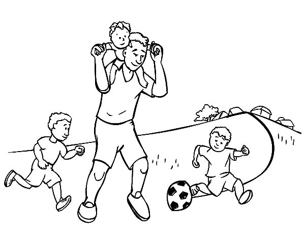 I Love Dad, : Play Football with Daddy I Love Dad Coloring Pages