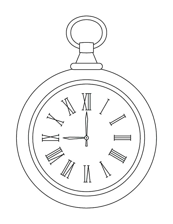 Alarm Clock, : Pocket Alarm Clock Coloring Pages