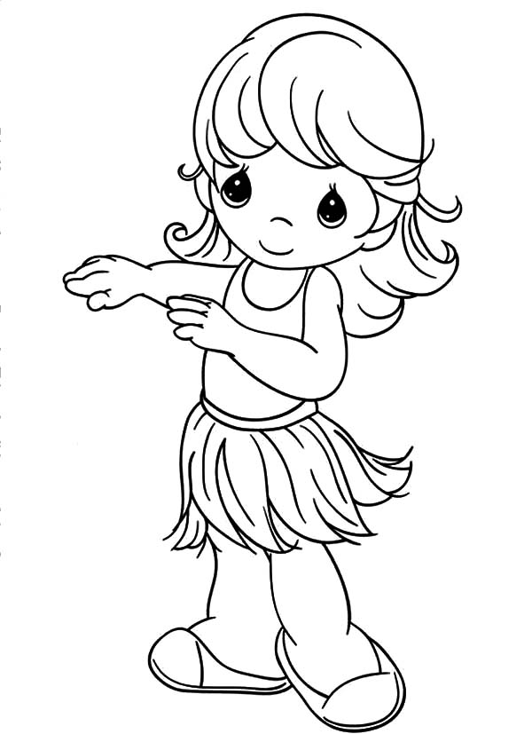 Hula Girl, : Precious Moments Hula Girl Coloring Pages
