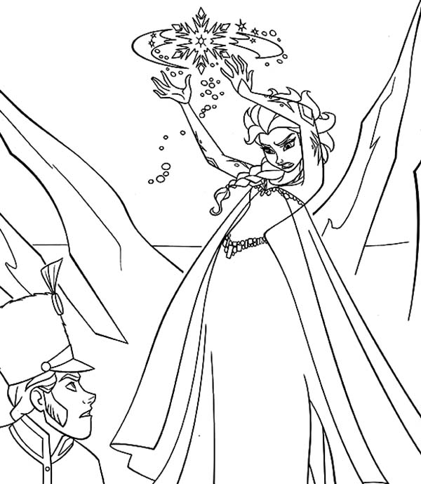 Elsa, : Queen Elsa Ice Attack Coloring Pages