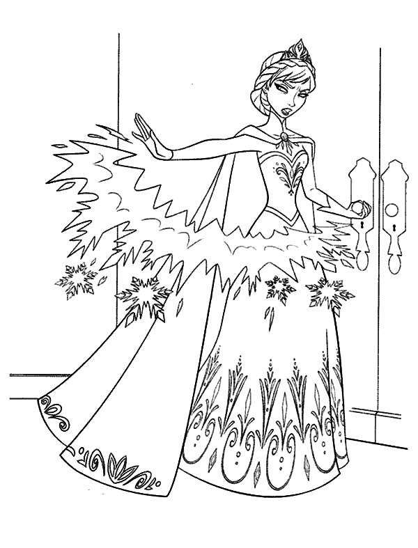 Elsa, : Queen Elsa Make Barrier from Ice Coloring Pages