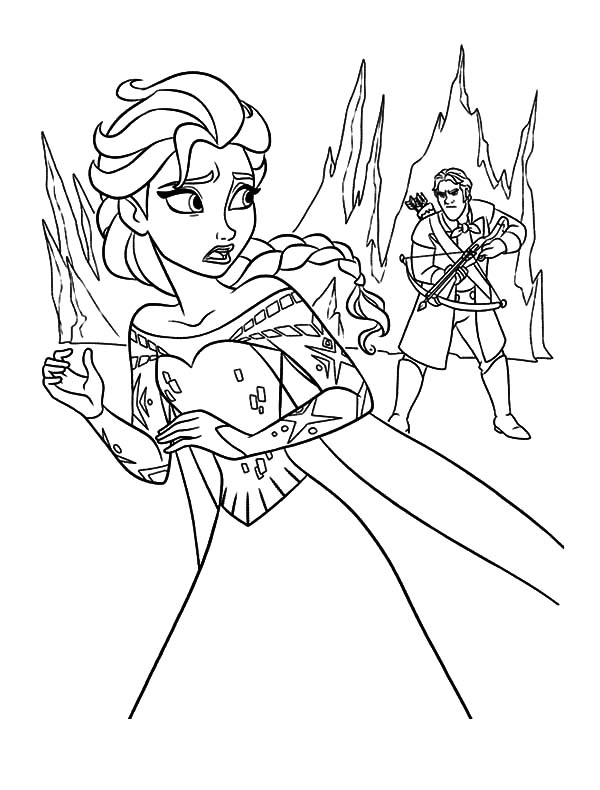 Queen Elsa Runaway from Hunter Coloring Pages | Coloring Sky