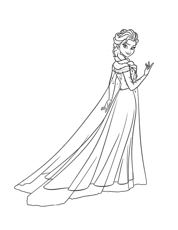 Queen Elsa Wearing Ice Gown Coloring Pages : Coloring Sky