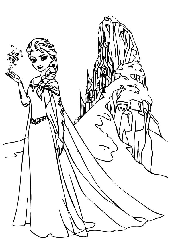 Queen Elsa And North Mountain Coloring Pages Coloring Sky