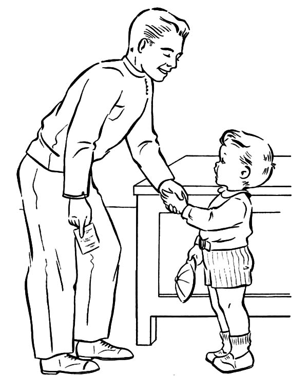 I Love Dad, : Shaking Daddys Hand I Love Dad Coloring Pages