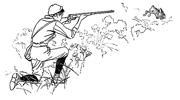 Hunting, : Shoot at Rabbit Hunting Coloring Pages