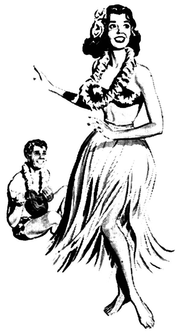 Hula Girl, : Sketch of Hula Girl and Guitar Player Coloring Pages