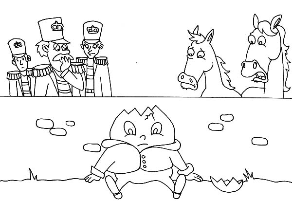 Humpty Dumpty, : Soldier and Horse Saw Humpty Dumpty Cracked Coloring Pages