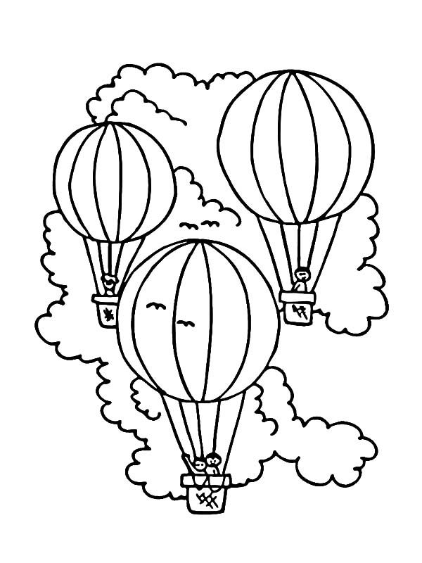 Vacation On Hot Air Balloon Coloring Pages Coloring Sky