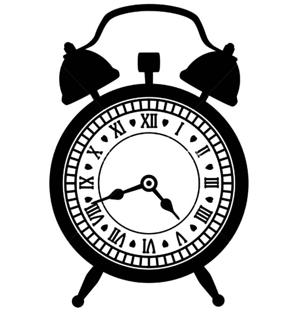 Alarm Clock, : Vintage Alarm Clock Coloring Pages