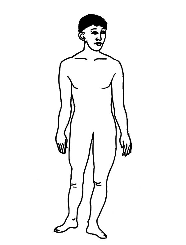 Human Body, : Youngster Human Body Coloring Pages