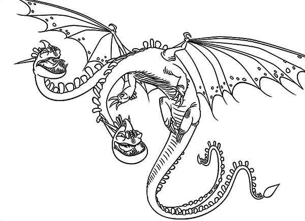 How To Train Your Dragon, : Zippleback Twin Heads Dragon in How to Train Your Dragon Coloring Pages